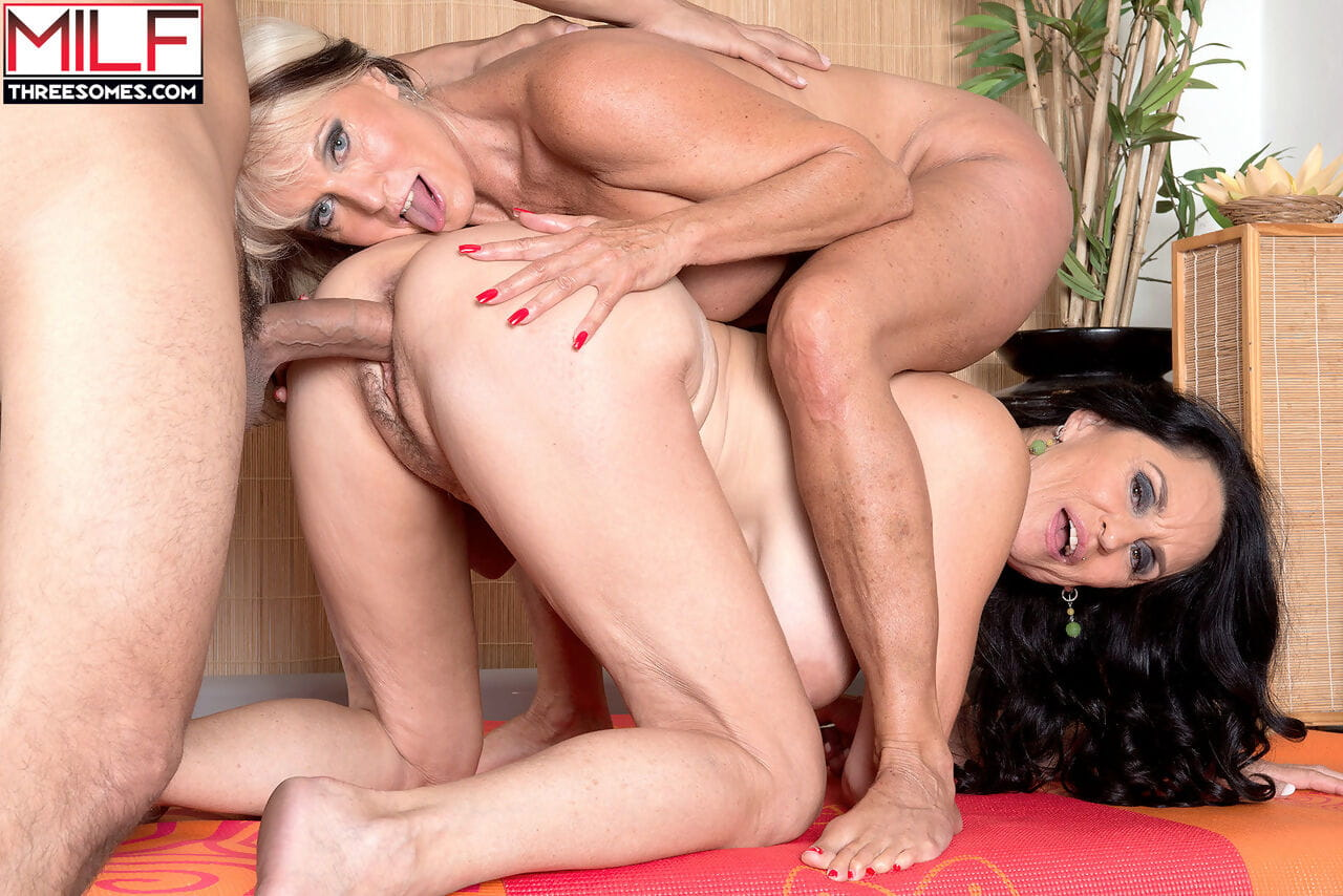 Blonde and brunette MILFs got younger coachs big dick out of pants to fuck it
