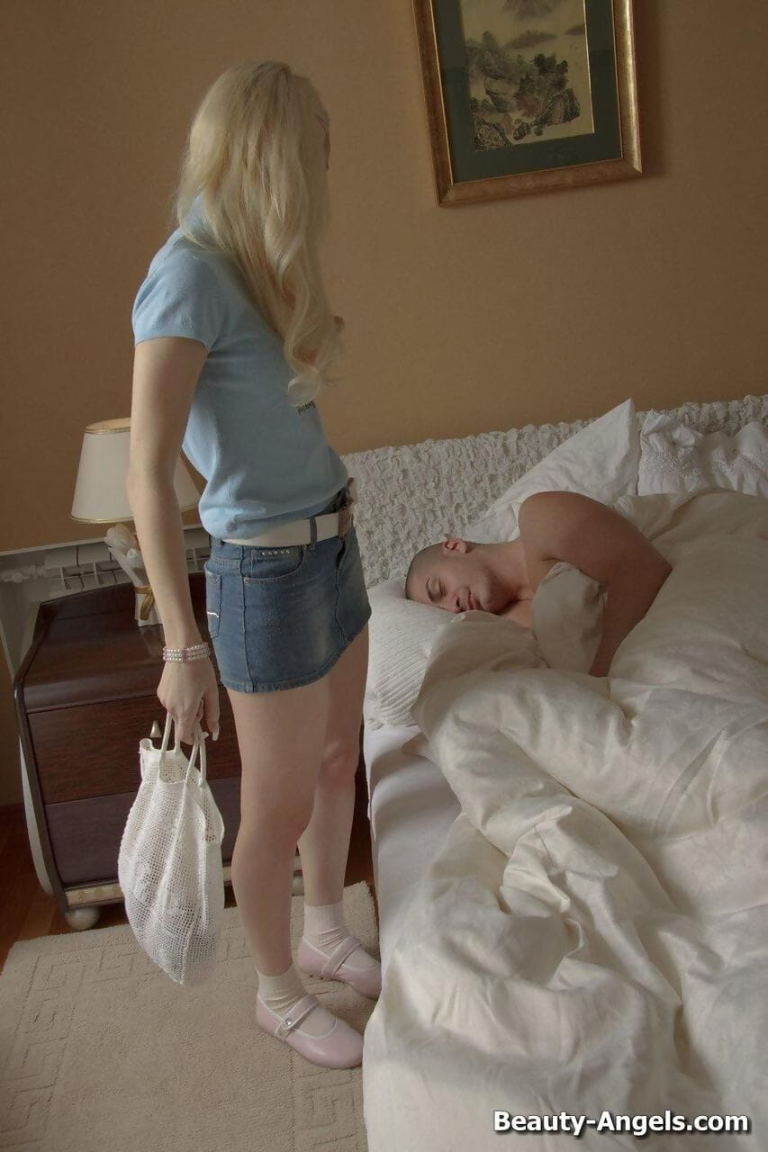 Blonde teen drips cum from tongue after ass to mouth action in socks and shoes
