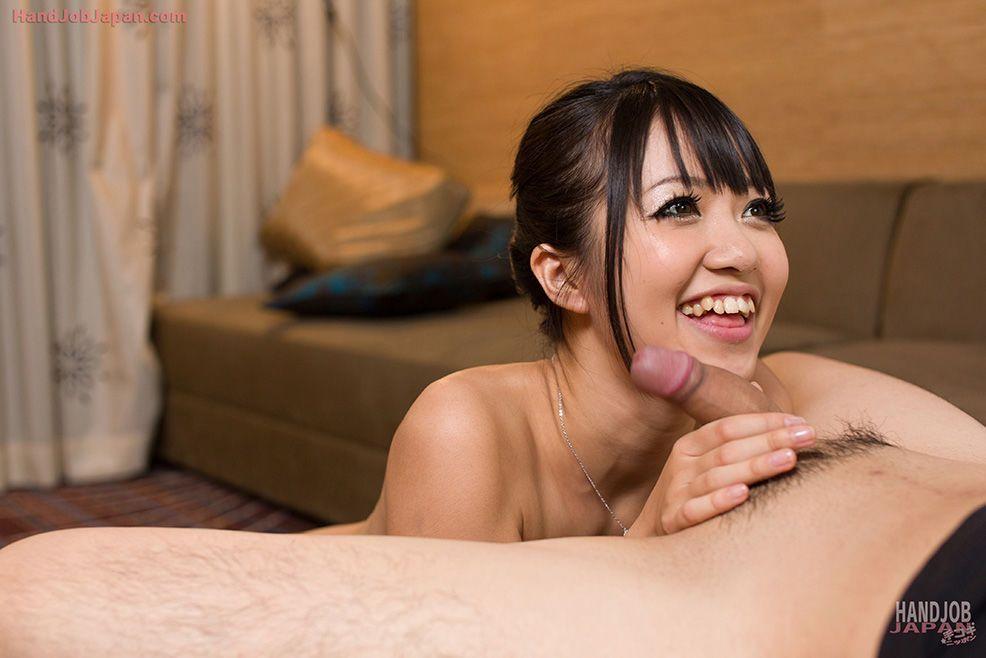 Asian beauty licks sperm off fingers after giving the best handjob ever