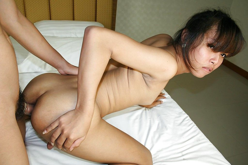 Small tit Asian tranny Ming sucking a dick dry and ass fucking hardcore