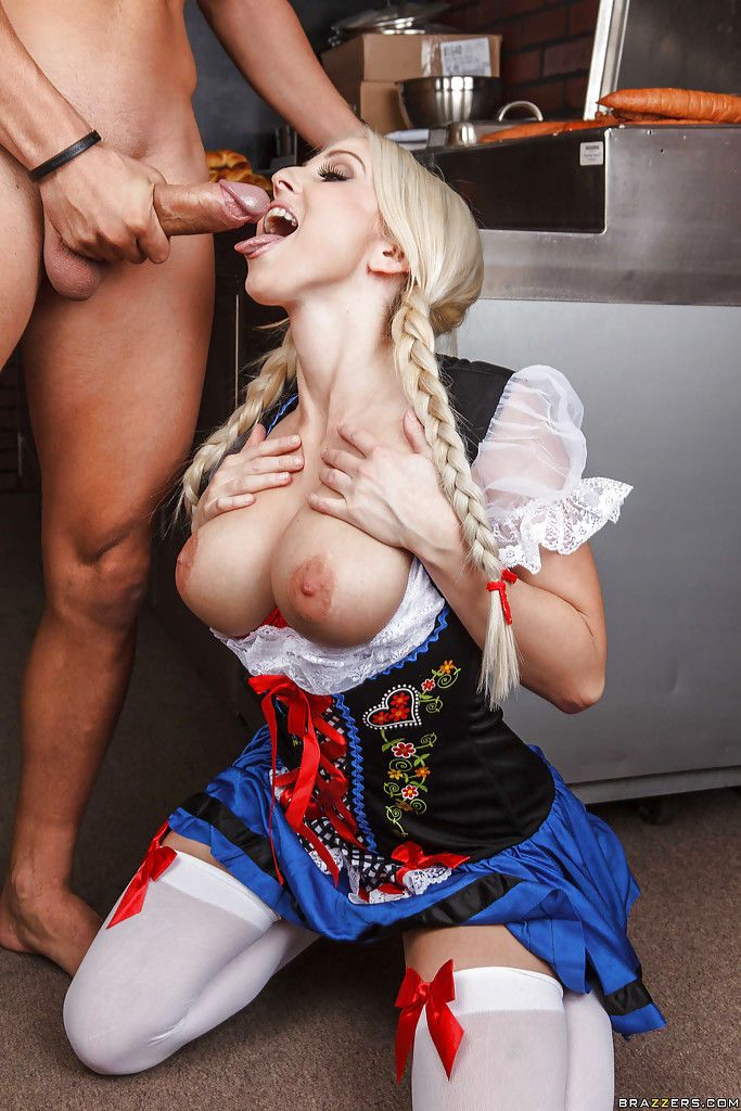 Amazingly sexy blondie with pigtails and round boobs sucks and fucks a big cock