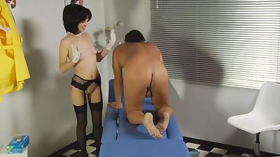 Petite nurse takes off her..