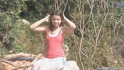 Teen strips after her hike