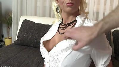 Busty blonde MILF gets fucked in..