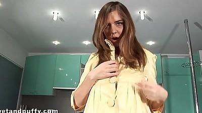 Huge dildo insertion for her..