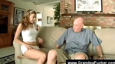 Teen seducing senior by flashing