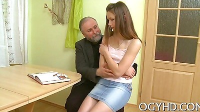 Sexy young babe banged by old guy
