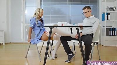 Sexy blonde nurse Lola Myluv gets..
