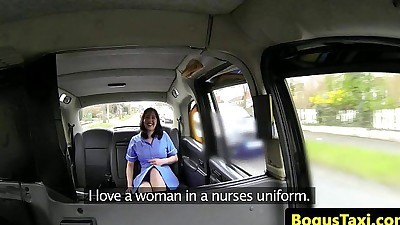 Real nurse fucked on public taxi..