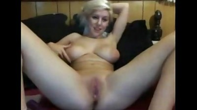 Hot Blonde Dildo Fucks Herself..