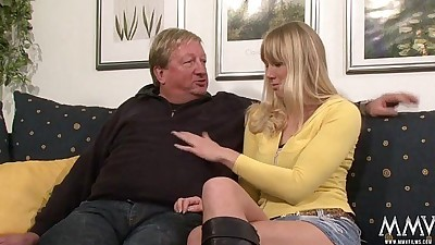 Horny blonde babe does old guy a..