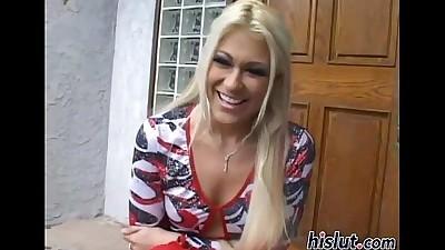 Blonde bimbo swallows a massive..