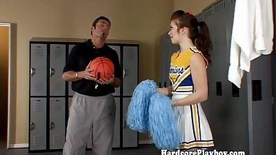 Brunette cheerleader fucks and..