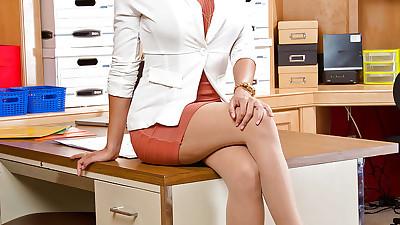 Latina secretary in pantyhose..