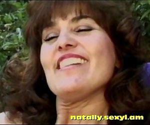 busty old MILF brunette banging..