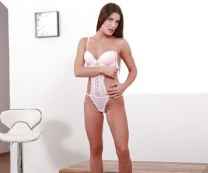 Brunette solo girl Zena Little toying trimmed pussy while..