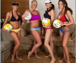Lesbian volleyball team stripping and showing off tight..