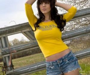Beautiful busty Bryci visits the country to air her huge..
