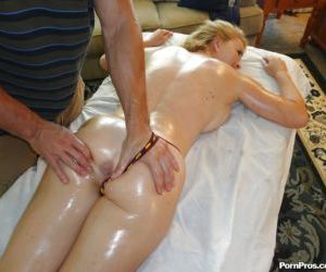 Busty blonde Krissy Lynn receives a massage and a cock in..