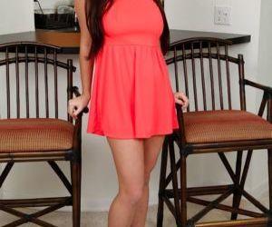 Big titted teen girl Karlee Grey bent over for upskirt..