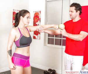 After a workout busty teen Noelle Easton likes to stretch..