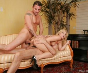 Young blonde chick Emma Heart taking intense double..