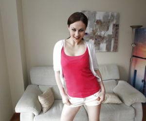 Busty European solo babe Tina Kay unloosing big natural..