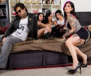 Joanna Angel and her tattooed friends takes turns fucking..