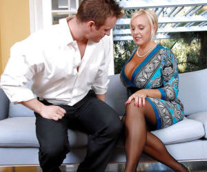 Mature bbw in lacy stockings Alexis Golden jumping on a..
