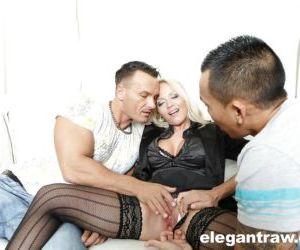 Hardcore MMF threesome sex with blonde European pornstar..