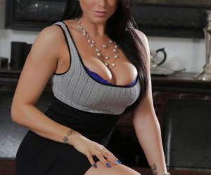 Buxom Latina pornstar Romi Rain strips for viewing of..