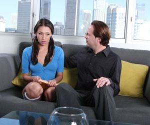 Latina chick Vicki Chase gets butt fucked on the sofa with..