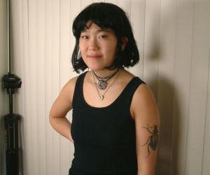 Slender amateur Asian Cady puts her hairy coochie under..