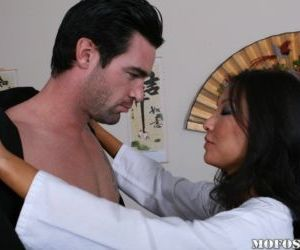 Horny asian MILF Asa Akira blows and fucks a rigid white..