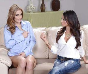 Ariella Ferrera is having an lesbian sex with Ryan Maze on..
