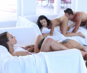 Naked brunette chicks Dillion Harper & Lily Love do a..