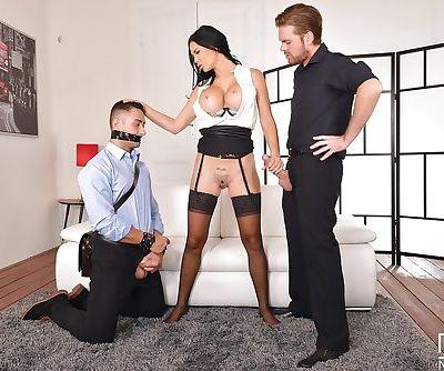 MILF pornstar Jasmine Jae restraining her hubby before fucking another guy - part 2