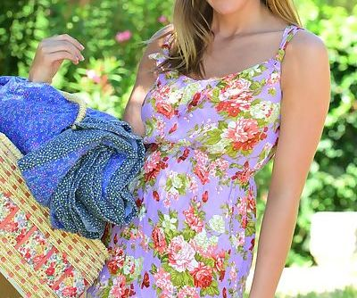 Fresh faced Sophia Winters give a picnic tease and toys her shaved pussy