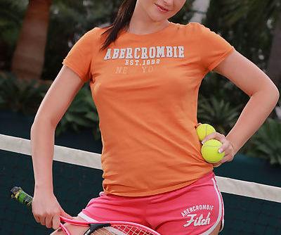Sports MILF Sandra Shine strips while playing tennis and masturbates