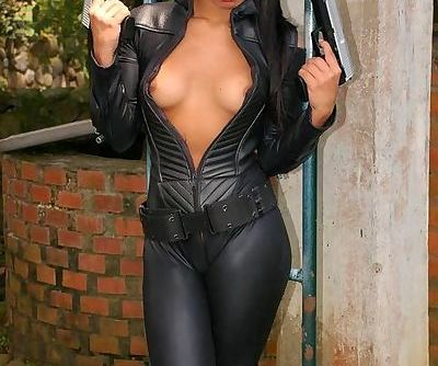 Gigi will blow your mind with her leather outfit