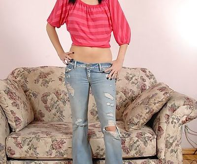Big tit brunette amateur teen Veronica undressing her skinny body