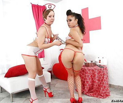 Salacious lesbians have some milky anal fun using large dildos