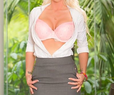 Blonde MILF Alexis Malone wiggles out of skirt and lingerie before riding cock