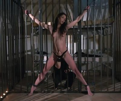 Slave immobilized to prison cell bars