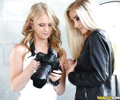 Real life blonde lesbians Lily Rader and Naomi Woods tongue kissing