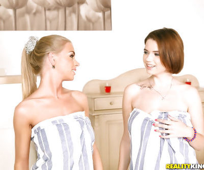 European chicks Marina Visconti and Lolly Gartner taking shower together