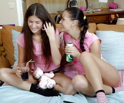 Lesbian teens Alana B & Zanna licking and toying each others pink hole